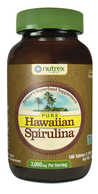Hawaiian Spirulina 1000mg 180 Tablets 3-A-Day Nutrex Hawaii